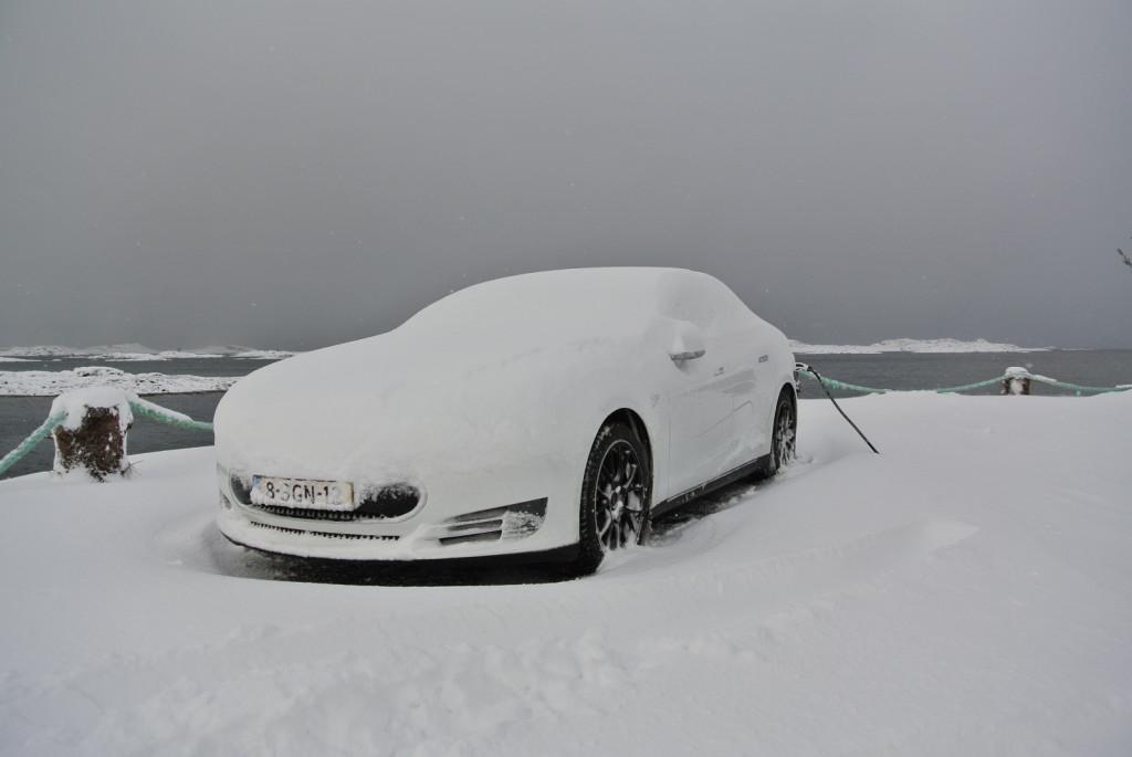 Model S under snow