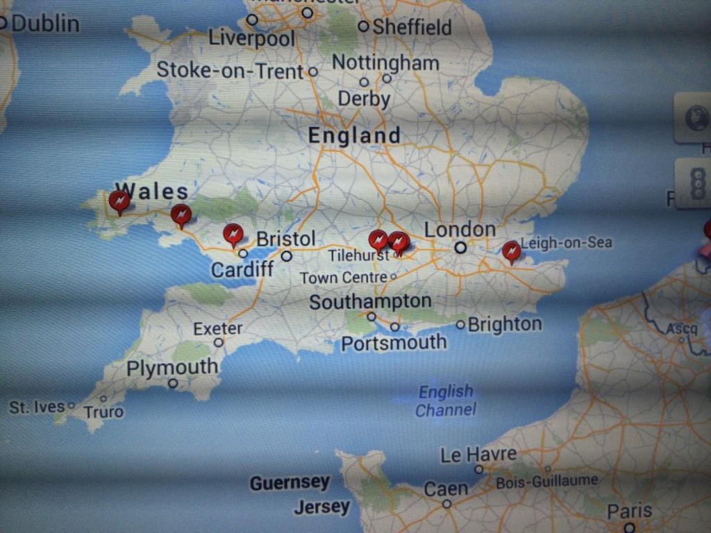 Charging map Model S UK