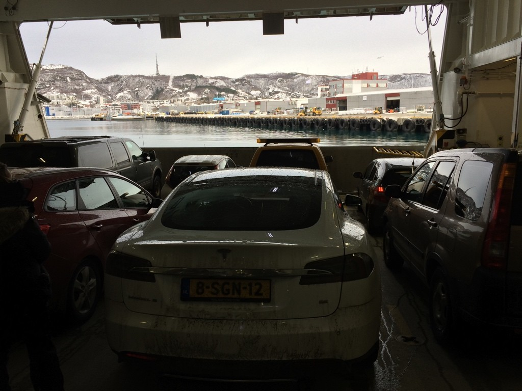 Model S on Ferry to Bodø